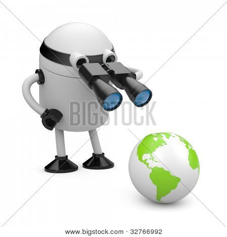 Robot explore the globe. Image contain clipping path