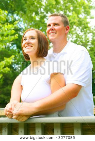 Young Caucasian Couple Enjoying Outdoor