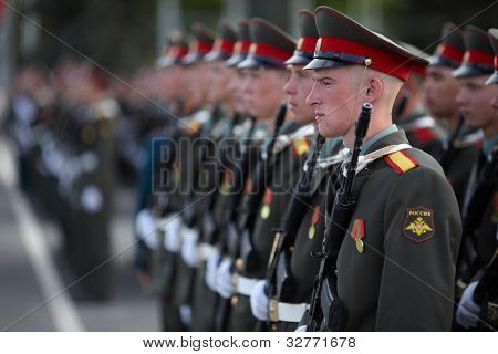 SAMARA,RUSSIA-MAY 6: young russian soldiers at repetition of the parade in the center of Samara, before annual Victory Day , May 6, 2012, Samara, Russia