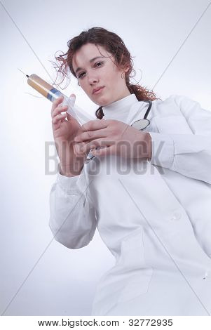 Female Doctor Ready For An Injection