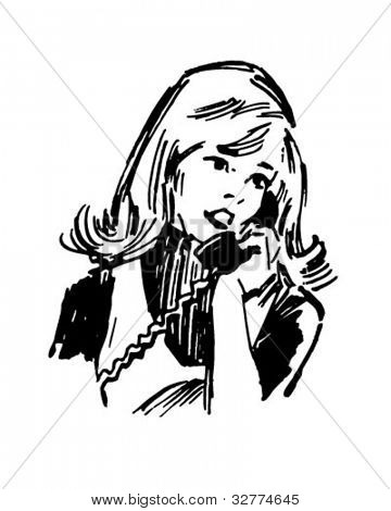 Gal On The Phone - Retro Clipart Illustration