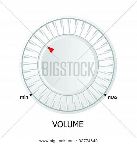 White Volume Knob Vector Illustration