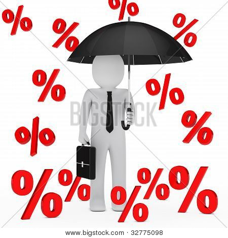 Businessman Umbrella Sale Percent
