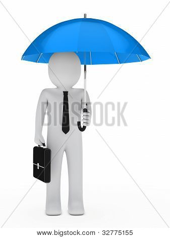 Businessman Blue Umbrella
