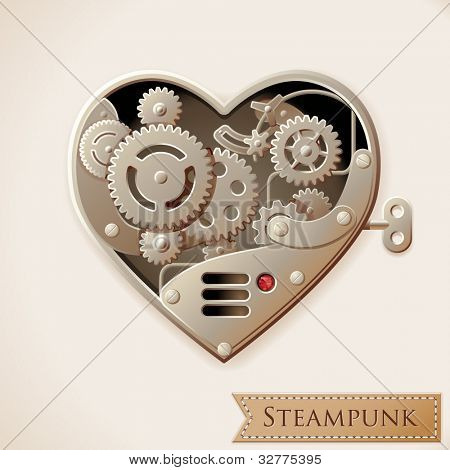 Wind up metal steampunk heart with gears, vector