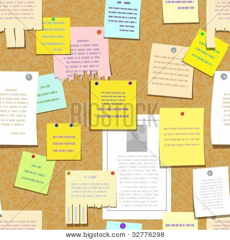 seamless cork bulletin board with notes, advertise