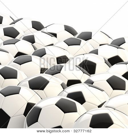 Pile of football balls as a background