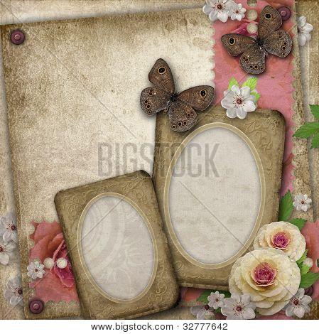 Vintage Background with Papier Rahmen, Schmetterling und Rosen für Glückwünsche und Einladungen
