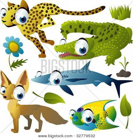 vector conjunto animal: guepardo, jacaré, tubarão, raposa, peixe