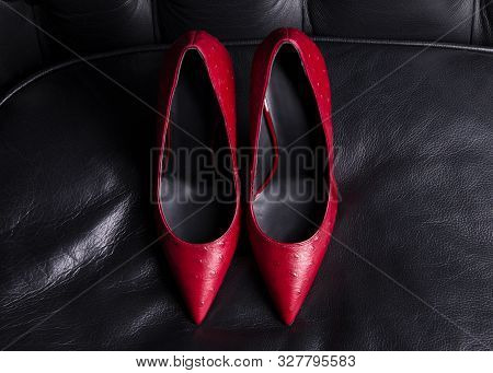 poster of Women Shoes. A Pair Of Red Shoes Top View. Pointed-toe High-heeled Shoes. A Pair Of Beautiful Shoes