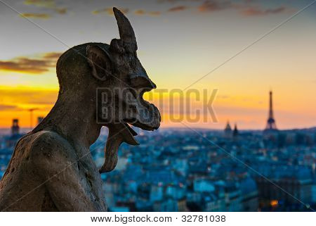 Gargoyle Staring Over Paris