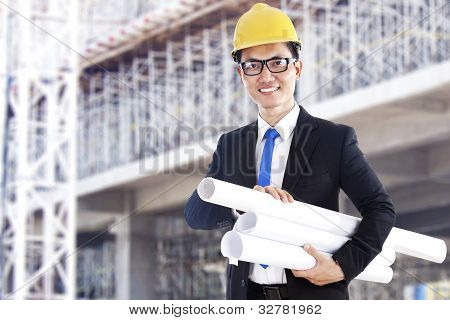 Asian Developer With Blueprints