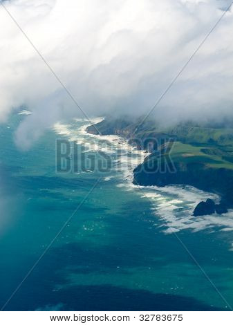 Aerial view of Tasman Sea shore NZ North Island