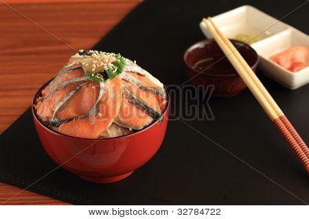 Rice salmon sashimi