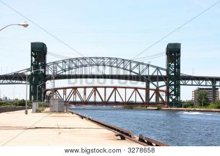 Burlington Skyway Bridge, Burlington Canal And Lift Bridge In Ontario, Canada.