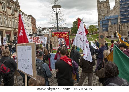 Protesters Listen To Speaches In Exeter Cathedral Yard As Part Of The May Day Rally Against The Coal