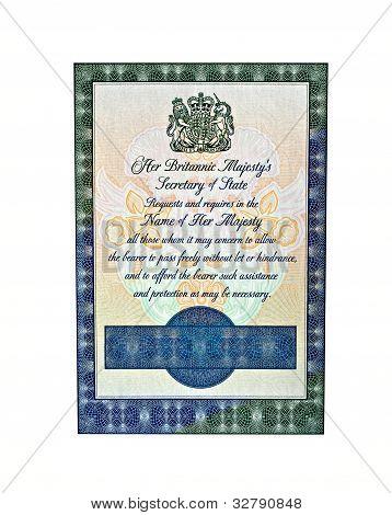 Uk Passport Inside Page