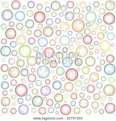 Glossy Abstract Sphere Bubble Pattern In Multiple Color On White