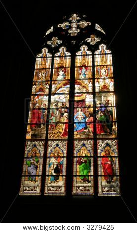 Stained Window With The Birth Of Christ