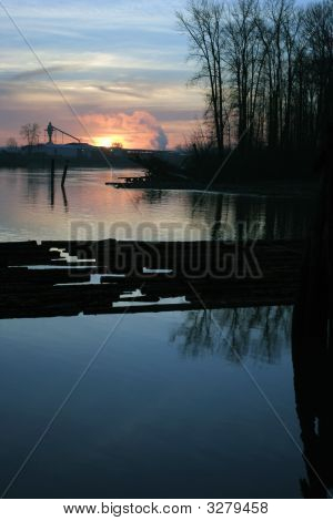 Sunset On The Fraser River Near New Westminster British Columbia
