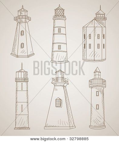 Different Lighthouses Vector Set