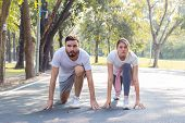 Couple Are Preparing To Exercise. poster