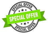 Special Offer Label. Special Offer Green Band Sign. Special Offer poster