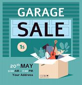 Garage Sale Ad Poster Template With Flat Cartoon Box Full Of Stuff poster