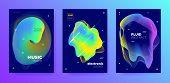 Bright Music Design. Futuristic Pattern. Dance Festival. Multicolor 3d Fluid Background. Vivid Music poster