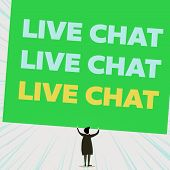 Handwriting Text Writing Live Chat Live Chat Live Chat. Concept Meaning Talking With Showing Friends poster