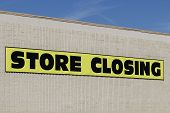 Store Closing Sign Close Up On The Side Of A Business poster