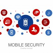 Mobile Security Trendy Circle Template With Simple Icons. Contains Such Elements As Mobile Phishing, poster