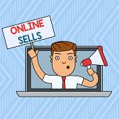 Word Writing Text Online Sells. Business Concept For Sellers Directly Sell Goods Or Services Over Th poster