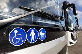 New Modern Busses On Lpg. International Symbol Of Access - Wheelchair Symbol (handicapped, Physicall poster