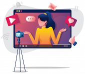 Flat Design Illustration With Female Vlogger Or Influencer, Recording New Video. poster