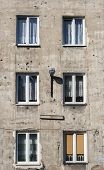 Old Tenement In Capital Of Poland Warsaw In Praga District With Second World War Marks Of Shots On I poster