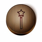 Brown Line Magic Wand Icon Isolated On White Background. Star Shape Magic Accessory. Magical Power.  poster