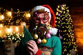 New Year. Wish You Merry Christmas. Christmas Beard Style. Man With Funny Face Over Christmas Backgr poster