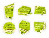 Healthy Nature Organic Vegan Emblem. Fresh Nutrition Tag, Logo. Labels Ecology Food. Set Certified P poster