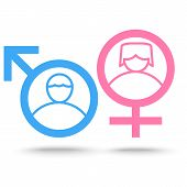 Gender Symbol Icons,flat Icon Design,vector Isolated Man Sex Symbol And Woman Gender Sign poster