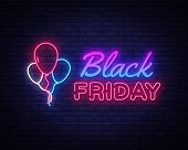Black Friday Sale Neon Sign Vector. Black Friday Bid Discount Design Template Neon Sign, Light Banne poster