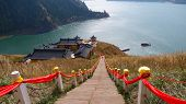 Nature Landscape View Heaven Lake Of Celestial Mountains And Taoist Heavenly Queen Mother Temple In  poster
