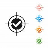 Black Target And Check Mark Icon Isolated On White Background. Dart Board Sign. Archery Board Icon.  poster