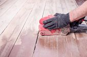 Wood Floor Polishing Maintenance Work By Grinding Machine. Copy Space. Repair In The Apartment.speci poster