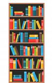 Bookcase With Books. Book Shelves With Multicolored Book Spines. Vector Illustration In Flat Style poster