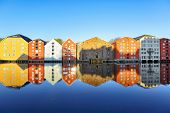 River Nidelva And Historical Timber Buildings Along The River In The Norwegian City Trondheim poster
