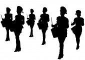 Постер, плакат: Векторное изображение молодых девушек с барабаны