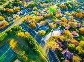 Fall Colors Aerial Drone View High Above Suburb Homes And Houses In New Development Community Suburb poster