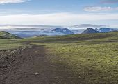 Icelandic Landscape With Footpath Of Laugavegur Hiking Trail With View On Tindfjallajokull Glacier,  poster