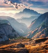 Mountain Canyon Lighted By Bright Sunbeams At Sunset In Autumn In Dolomites, Italy. Landscape With M poster